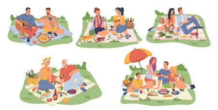 People on picnic, blankets on grass food icons set