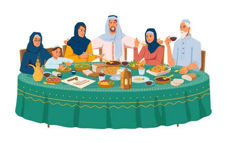 Muslim family at dinner, iftar or ramadan holiday 일러스트