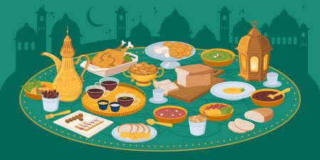 Iftar, ramadan banner with food and drinks eating Ilustración de vector