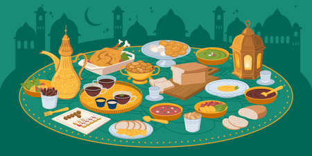 Iftar, ramadan banner with food and drinks eating Ilustrace