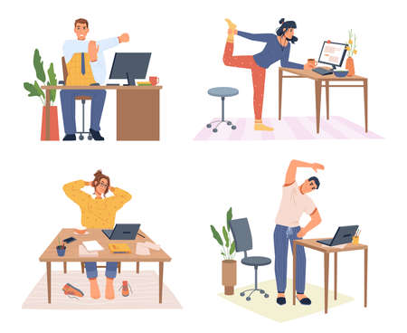 Stretching employees working from home or office