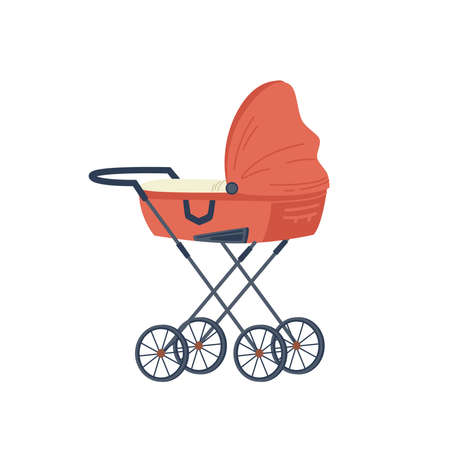 Pram with newborn baby child, cartoon stroller Ilustrace