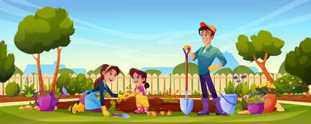 Happy family gardening in backyard parents and kid