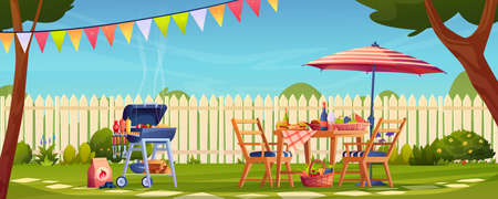 Garden party bbq picnic served table, food, drinks