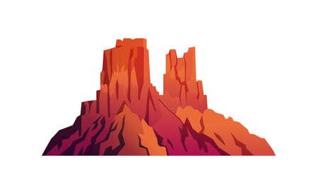 Landscape of desert, mountain red rocks isolated