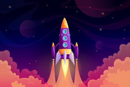 Rocketship galaxy discovery shuttle, rocket launch in sky 일러스트