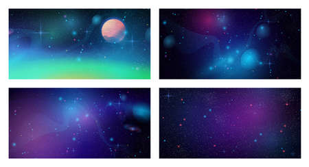 Futuristic space backgrounds set, cosmic galaxy universe