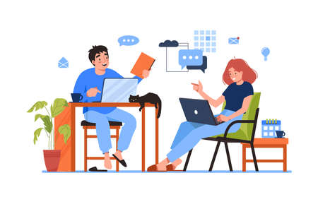 Freelancers man and woman working together at home