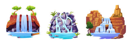 Set of waterfall landscapes isolated cartoon views