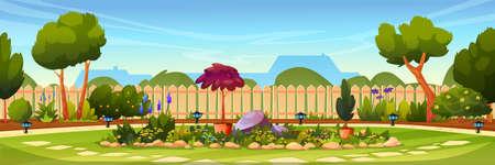 Garden backyard with fence, green tree, flower bed Vector Illustratie
