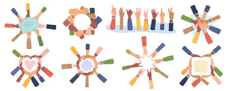 Cultural Diversity Day vector set isolated. Diverse human hands united for social freedom, peace, showing different gestures, togetherness concept. Palms making heart, holding speech bubble, teamwork
