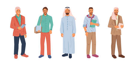 Modern muslim businessman in hijab or headscarf isolated flat cartoon people set. Vector arabian business man in national and casual cloth, entrepreneurs from middle east, uae citizen, successful guys Иллюстрация