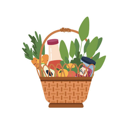 Picnic basket with food and drinks isolated cartoon icon. Vector flat wicker container with handle, fruits and vegetables, juice and sauces. Avocado, carrot and citrus oranges, green leaves Иллюстрация