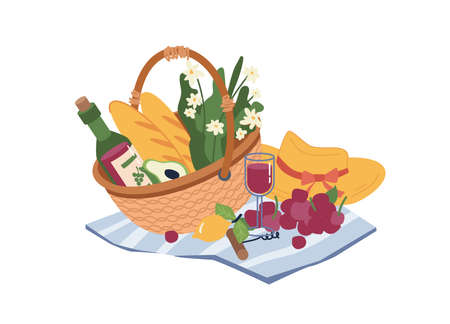 Picnic basket with food and drinks isolated flat cartoon icon. Vector wicker container with wine bottle and glass, summer flowers and woman hat, grapes and screw opener, bread and avocado, lemon