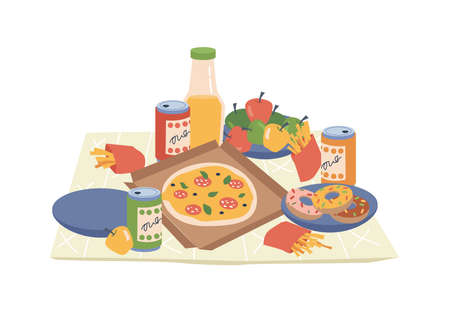 Fastfood and drinks on picnic napkin or blanket isolated flat cartoon design. Vector pizza, french fries and soda drinks, donut desserts, sweet pepper on plate and bottle of juice. Food on cloth