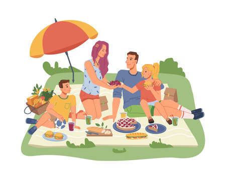 Happy family on picnic, mother, father, son and daughter together, sitting on blanket with food and drinks. Vector flat cartoon people, cake, sandwiches, soda with basket full of fruits and veggies Иллюстрация