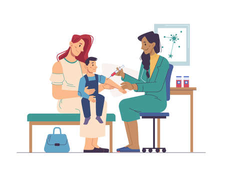 Child sitting on mothers hands, nurse making him vaccination in clinic or hospital. Vector pediatrician and vaccinating syringe injection to kid boy, doctor injecting antibiotic to sick, coronavirus Иллюстрация