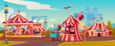Entertainment playground in family amusement park, carnival circus tent, carousels rollercoaster on background. Vector ferris wheel, candy cotton booth, shooting gallery, arrows pointers, ticketsbox Иллюстрация