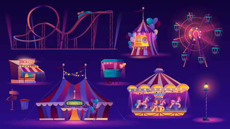 Amusement park night set. Vector ferris wheel, big top circus tent, roller coaster racing , carousel with horses, childish fairground and food cart with popcorn or ice cream. Street lamp, ticketsbox