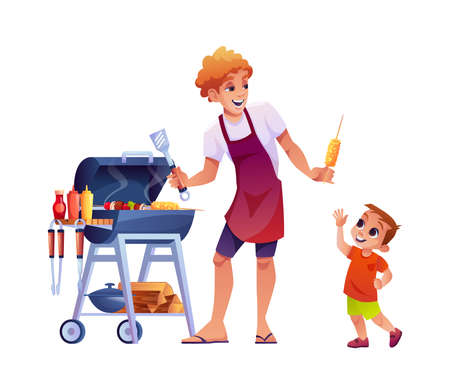Bbq, dad gives his son corn isolated cartoon people grilling meat. Vector father and little boy cooking outdoors, parent and child spend leisure time together. Grilling machine and logs, sauces