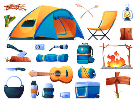 Camping set isolated tourist equipment icons. Vector hiking tent, sleeping bag and campfire, guitar and torch lighter, lamps and ax in log. Resting chair, backpack rucksack, compass and mug, pointer