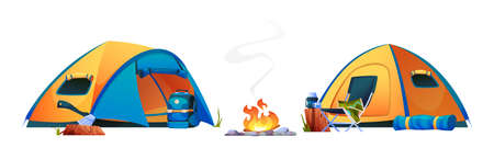 Camping, campfire tents, bonfire and tourist travel equipment isolated icons. Vector campsite with shelters, hiking and trekking tools, chair and kettle with mug on log. Ax and rucksack, sleeping mat