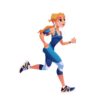 Fitness running girl with mp3 player isolated cartoon style character. Vector cute woman design for motivational article about sport trainings. Pretty sportive jogger in uniform, jogging person Иллюстрация