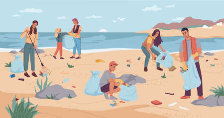 Volunteers cleaning beach, pickup garbage on river or lake shore. Vector group man woman collecting garbage together use rake. Team of active citizens pickup rubbish into bags. Environment protection