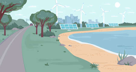 Eco city with renewable energy sources flat cartoon design. Vector ecology friendly environment, windmills and solar panels, green trees and river bank, clean blue sky. Modern town landscape cityscape Иллюстрация
