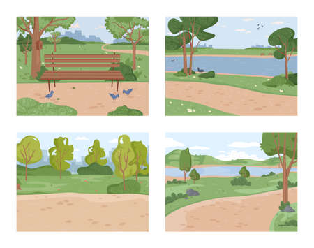 Landscape park set, duck pigeon birds and river ponds, green trees and grass scenery, bench and pathway background. Vector ecology clean nature, bushes and blue sky. Summertime forest panorama, lawn Иллюстрация