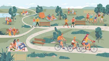 People in park leisure outdoor activity, family picnic and summer rest. Vector people sitting on bench, playing on lawn and riding bicycle, physical sport activities, elderly couple, parents with pram Иллюстрация