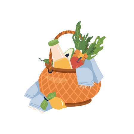 Basket with food and drinks flat cartoon icon isolated. Vector wicker container with fruits and vegetables, white blanket or napkin, juice or soda, lemon, carrot and apple, avocado and cucumber Иллюстрация