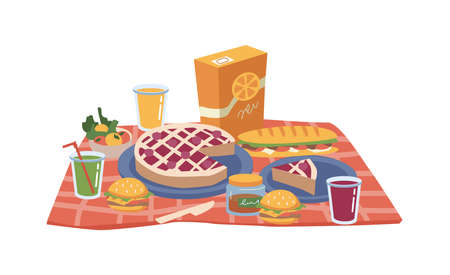 Cartoon picnic food and drinks, pack of juice, snacks, sandwiches and bakery cake, hamburger and apples on plate, glasses of soft drinks. Cheeseburgers or hamburgers, jam and fruits, checkered napkin Иллюстрация