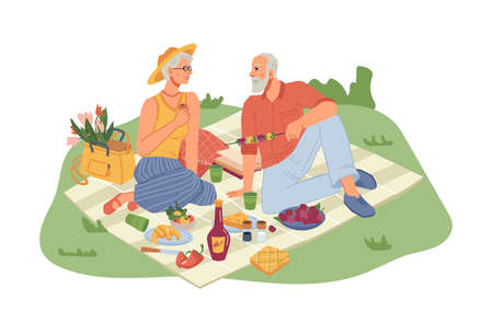 Picnic on nature, mature man and woman sitting on blanket with wine. Vector fruits and vegetables , flat cartoon people isolated. Senior family coupe resting in park garden, basket with products