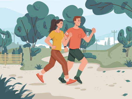 Running man and woman in city park, cityscape scenery landscape on background. Vector green trees, jogging family couple cartoon style characters. Adult sportive joggers, cross marathon outdoor