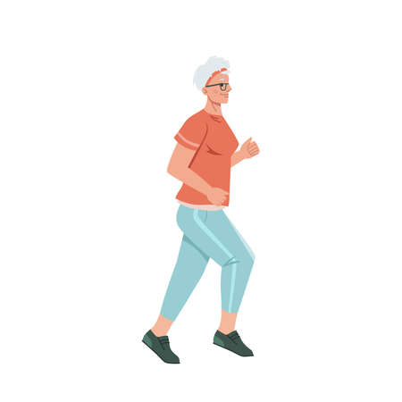Running senior woman in casual cloth isolated jogging old lady cartoon style character, middle age female, side view. Vector pensioner sportive jogger run workout, movement motion, sport trainings Иллюстрация