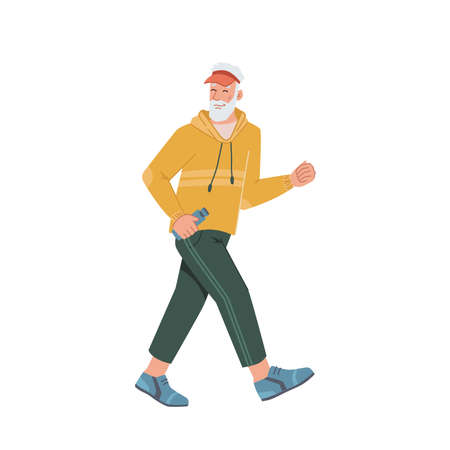 Elderly man running jogging side view isolated flat cartoon portrait. Vector middle age bearded male, pensioner sportive jogger run workout, movement motion, sport training cross of mature person Иллюстрация