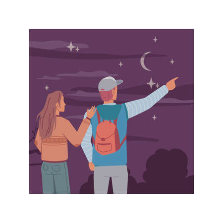 Night, young man and woman couple back view looking at starry sky, dreaming and investigating moon and sky. Vector evening landscape scenery, tourists travelers dreaming and inspire together