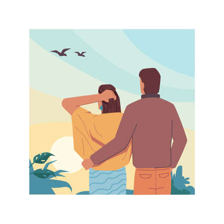 Hugging couple on sky landscape background, back view. Vector tourist people looking at flying birds in clouds. Vector man and woman in love on nature, dreaming and resting together, flat cartoon Иллюстрация