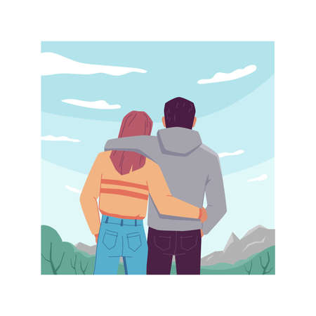 Back view of hugging couple on sky landscape background, travel people looking at clouds. Vector man and woman in love on nature, dreaming and resting together. Tourists adventure, inspiration