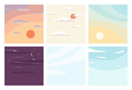 Day and night sky, sunrise and sunset backgrounds set. Vector cloudless summer view of skyline, sunny weather with bright sunlight rays. Beautiful nature, dreaming, inspiration landscapes Иллюстрация