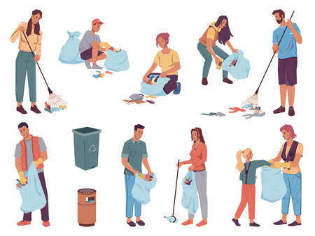 People volunteers cleaning up from wastes, pickup garbage into bags, dust bins, flat cartoon characters design. Vector team of adults and kids protect environment. Man woman collecting trash together Иллюстрация