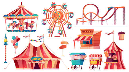 Set of amusement park icons. Vector carnival circus tent, ferris wheel, rollercoaster, carousel and candy cotton booth, food carts, shooting gallery, arrows pointers, ticketsbox. Balloons and flags Иллюстрация