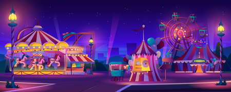 Amusement park at night. Vector festive fair entertainment attractions. Carnival circus tent, ferris wheel, roller coaster, carousel and candy cotton booth, glow illumination. Cityscape on background