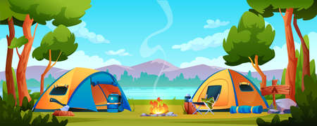 Campfire, camping hiking tents forest nature scenery, river or lake, mountains on background. Vector bonfire, tourist travel equipment, campsite with shelters, trekking tools, chair and ax, rucksack Иллюстрация
