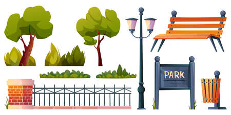 Park elements set isolated cartoon icons. Vector green trees, grass and bushes, street lamp and wooden bench, fence of forged metal and bricks, street waste litter bin and parkland notice board