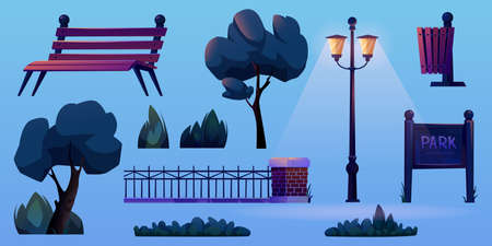 Outdoor elements for park construction isolated icons set. Vector illuminated lamp post at night, trees, grass and bushes, street objects and wooden bench, forged fence, street waste litter bin Иллюстрация