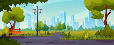 Summer or spring park sidewalks flat color illustration. Vector road near lawn with green grass, trees and bushes. Bench and street lamp, landscape with skyline cityscape house buildings on background Иллюстрация