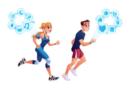 Smart run concept, man and woman jogging with smart watch health tracker application. Vector slimming people burning calories, monitoring heart rate, steps and gps route, workout time, listen to music