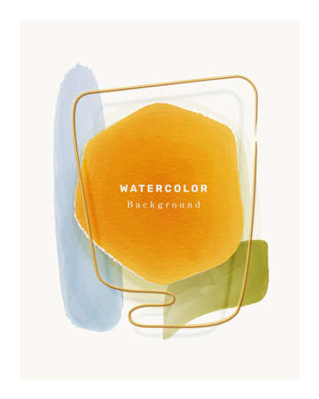 Watercolor backgrounds color design elements isolated abstract painted shapes in frame. Vector liquid blots or blotches, geometric vintage brush strokes, graphic decoration, liquid rough grunge fluids